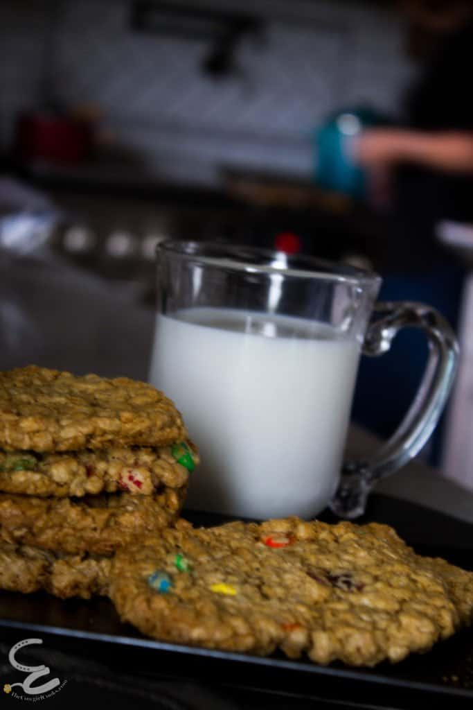 Monster cookies on a plate